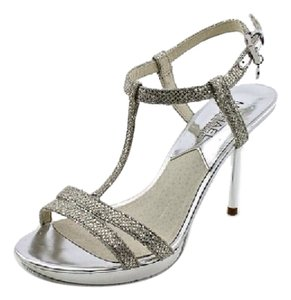 Michael Kors Silver Glitter Strappy Prom Formal Sandal Dress Occasion Holiday Party Strappy Strap Hot Coach Show Style Trend Bride Silver Glitter/Specchio Platforms