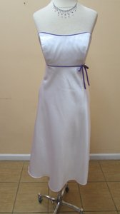 Alfred Angelo White/Purple Satin 6132 Formal Bridesmaid/Mob Dress Size 8 (M)