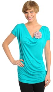 Paradis Miss Medium Teal Cowl Neck Top TEAL, BLUE