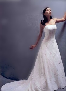 Monique Luo White with Taupe Embroidered Accents Polyester Bridal Gown W/Beaded Spaghetti Straps Formal Wedding Dress Size 8 (M)