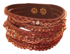 presh Presh Embossed Leather Multi-Strand Wrap Bracelet