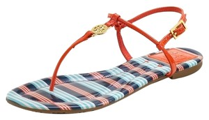 Tory Burch Emmy Red Orange Striped Thong Patent Patent Leather Gold Hardware Logo Monogram Ankle Strap Multi-color Sandals