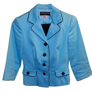 Donna Morgan Donna Morgan 2-piece Suit Turquoise and Black 3/4 sleeve Tailored Career Size 2
