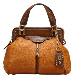 Olivia Harris Leather Satchel in cognac / brown