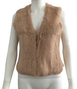 Colette Fur Rabbit Brown Nude Short Vest