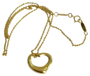 Tiffany & Co. Tiffany & Co / Elsa Peretti - Solid 18k Gold - Small Open Heart Pendant with 16