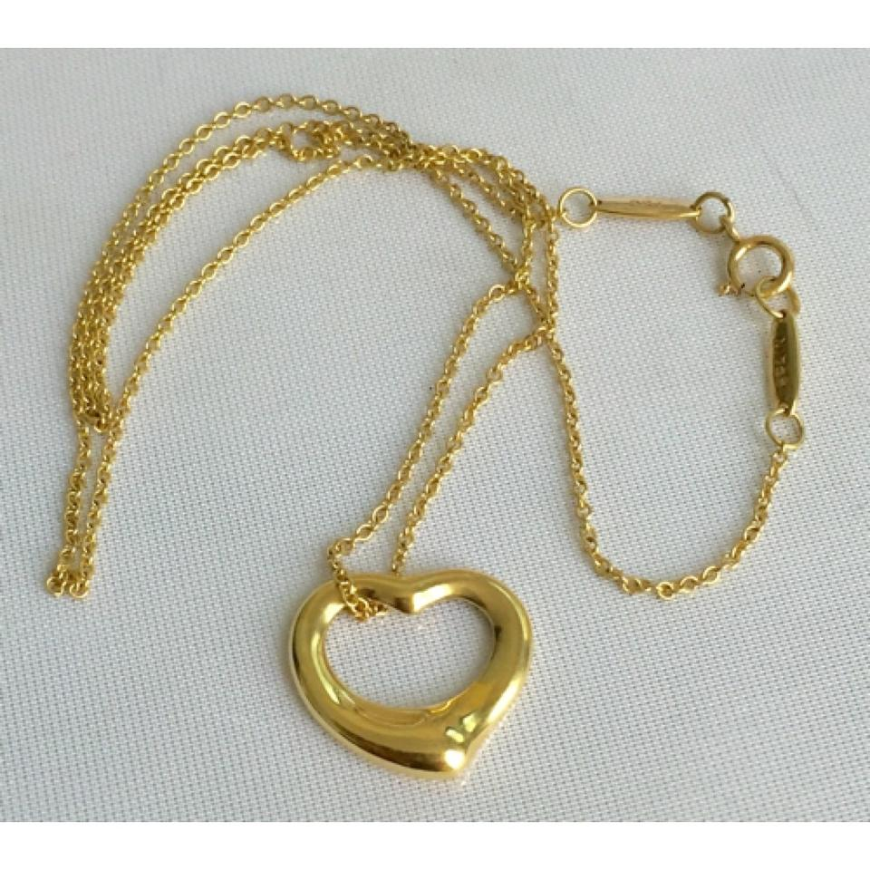 Tiffany co co elsa peretti solid 18k gold small open heart co elsa peretti solid 18k gold small open heart pendant with 16 chain retail necklace tradesy aloadofball Gallery