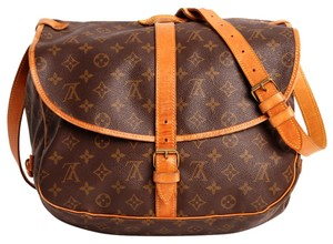 Louis Vuitton Saumur 35 Monogram Leather Saumur Cross Body Brown Messenger Bag