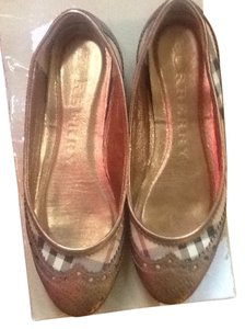 Burberry Leather BRONZE/PLAID Flats