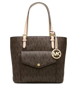 95c527701fe2 Michael Kors Jet Set Signature Medium Multi-function Pocket Brown ...