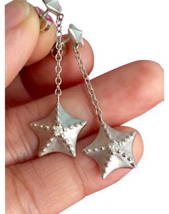 Tiffany & Co. RARE - Tiffany & Co - Solid 18k White Gold - Starfish Dangle Earrings with Diamonds - Retail = $2600