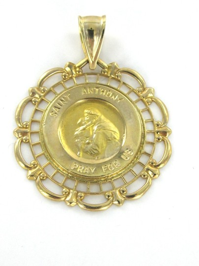 MA STUNNING ST. ANTHONY SAINT PRAY FOR US 14 KARAT SOLID GOLD PENDANT MEDAL