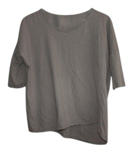 Color Thread Basic Linen Cotton T Shirt Taupe