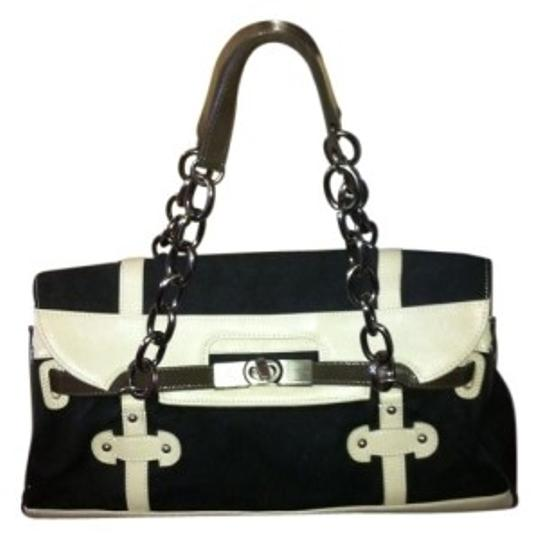 Preload https://img-static.tradesy.com/item/7895/bcbgmaxazria-black-and-tan-fabric-with-leather-accent-shoulder-bag-0-0-540-540.jpg