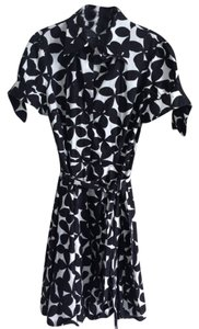 INC International Concepts short dress in Black And White Cotton Retro Belted Tie Full Skirt on Tradesy