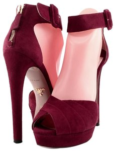 Prada Suede Heels Pumps Rubin Red Platforms