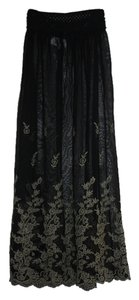 Gypsy Junkies Embroidered Boho Summer Festival Maxi Skirt Black