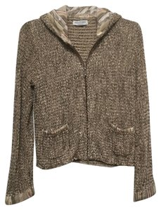 Ball of Cotton Hooded Zipper Woven Striped Cardigan