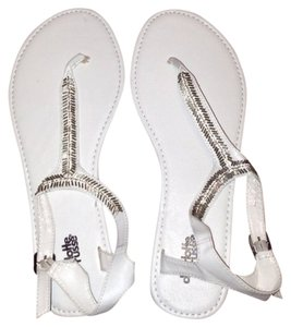 Charlotte Russe White Spring Summer Casual Cute Silver Sandals