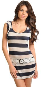 FINESSE short dress NAVY-TAN Tunic New on Tradesy