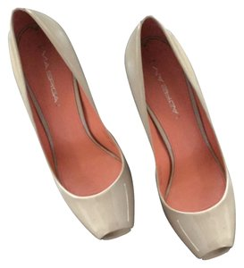 Via Spiga Classic Patent Peep Toe Work Stylish Heels Comfortable Heels Nude/tan Pumps