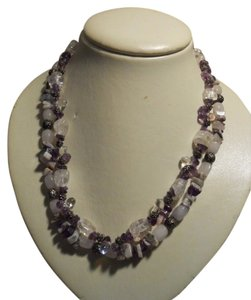 Natural stone double strand necklace