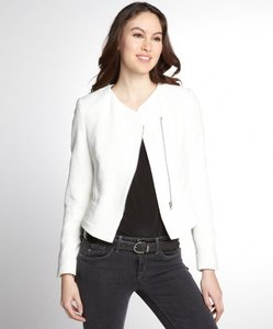 L'AGENCE White Assymetrical Modern French Boucle Soft White Blazer