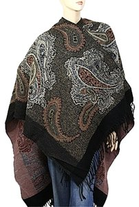Paisley Print Fringe Edges Large Shawl Wrap Cape