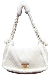 Chanel Suede White Fur Shoulder Bag
