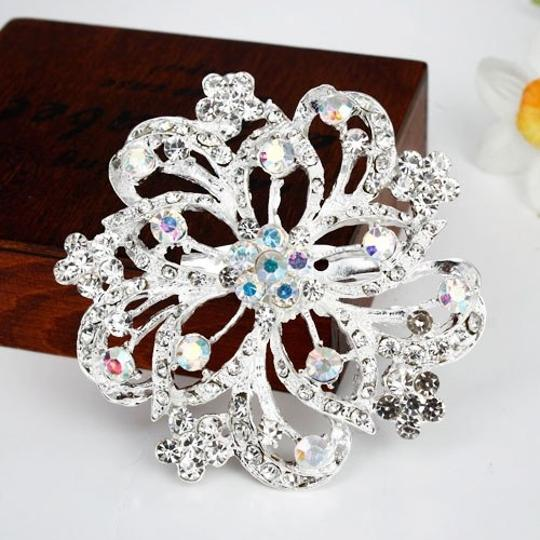 White Fashion Personalized Big Flower Silver Alloy Rhinestone Crystal Brooch/Pin