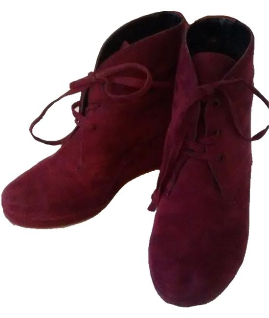 Item - Burgundy Artsy Bootie Lace Up Suede Cute Wedges Size US 9 Regular (M, B)