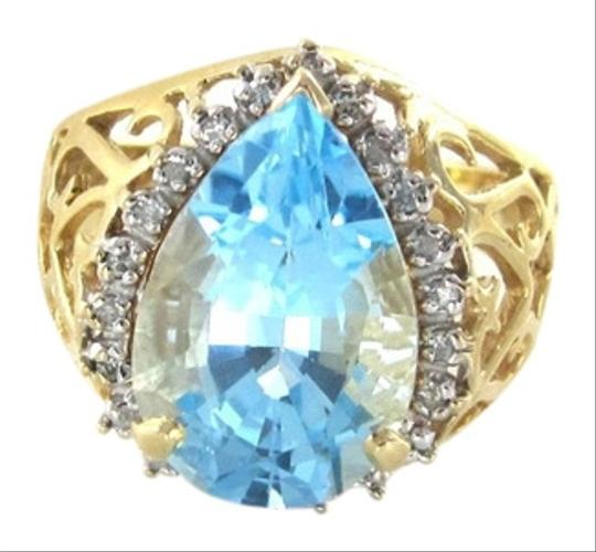 Other 14KT YELLOW GOLD SOLID WITH 22 DIAMOND PEAR SHAPED BLUE STONE RING