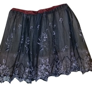 Vintage Petticoat Slip Small Skirt Black with pink flowers