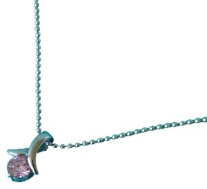 Other Sterling Silver Pink CZ Pendant Necklace