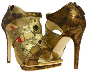 MS Shoe Designs Studded Leather Multi-Colored Gold & Bronze Pumps