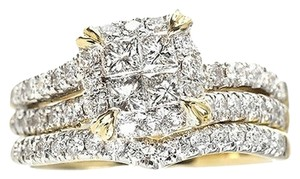 Jewelry Unlimited 14k Yellow Gold Ladies Princess Diamond Bridal Wedding Engagement Ring Set 1.25 Ct
