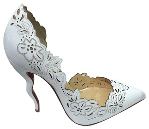 Christian Louboutin Beloved Beloved Laser Laser Cut Cut Patent Patent Leather Leather 120 Mm Sz Sz Size Size New New 2016 Fall Fall Half White Pumps