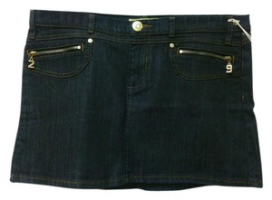 Lot#29 Denim Black Embroidered Crystal Mini Skirt Black Denim