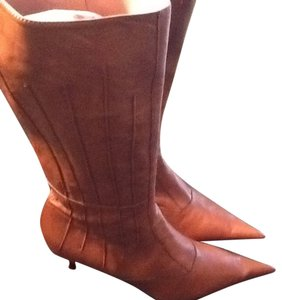 NaNa Italian Leather Tall Cognac Boots