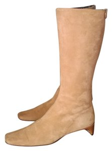 Anne Klein Mid-calf Made In Italy Designer New York Camel Italian Kid Suede Boots