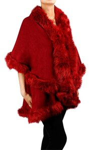 Red Faux Fur Poncho Cape