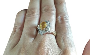 ring yellow gem and diamonds 14k