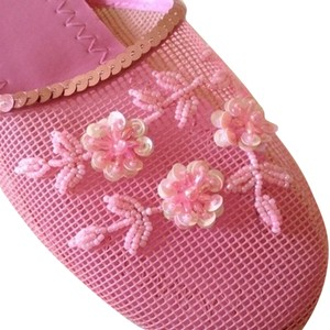Floral Beaded Sequin Mesh Slippers Bubble Gum Pink Flats