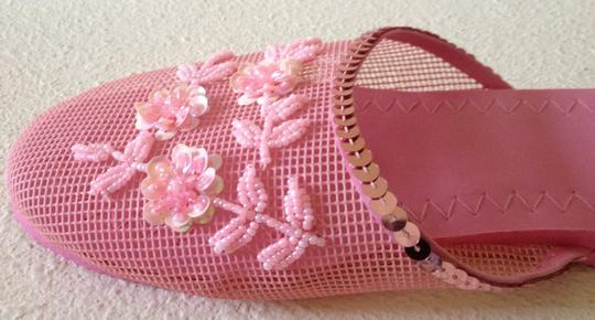 Free With Purchase Sequin Beaded Mesh Lounge Pink Flats