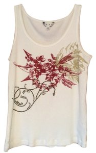 CAbi Studded Spring Treasure Top White, tan and burgundy
