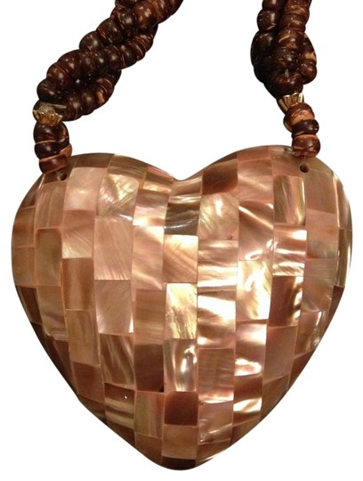 Pink Abalone Shell Mosaic Heart Vintage Necklace Heart Shaped Pink Abalone Shell Mosaic Wood Bead Necklace