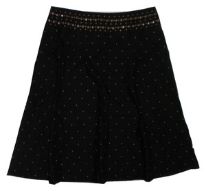 Liz Claiborne Gold Hardware Flared Skirt Black
