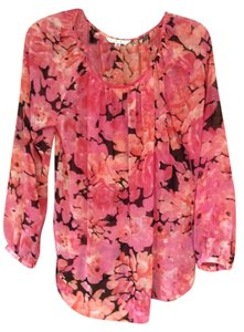 CAbi Pink Blouse Floral Sheer Tunic