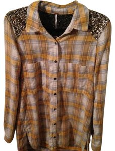 Free People Sparkle Flannel Button Down Shirt Yellow/Blue