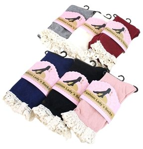 Women Lace top Button Side Accent Boot Socks 6 Pairs